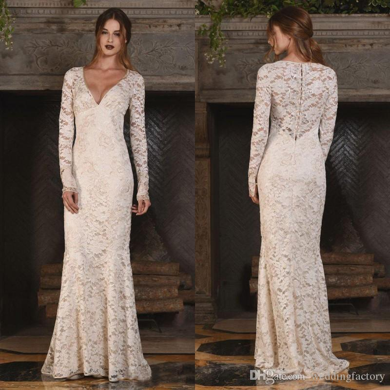 Vintage Full Lace Long Sleeve Wedding Dresses 2017 V Neck Country