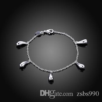 Moda 925 joyas de plata establece gotas de agua pendientes collar pulsera y anillo encanto regalo de Navidad caliente
