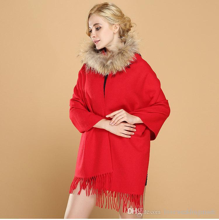 2018 New Red Riding Cap Cloak Fall Winter Wool Shawl Cashmere Scarf Wedding Chandelier Bridal Wraps Jacket