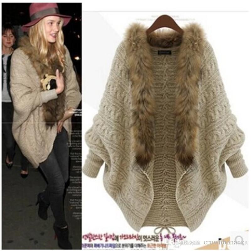 Inverno Novo Cardigan Poncho Gola De Pele Outerwear Mulheres Camisola De Malha Marca Casuais Malhas Jaqueta Frete Grátis
