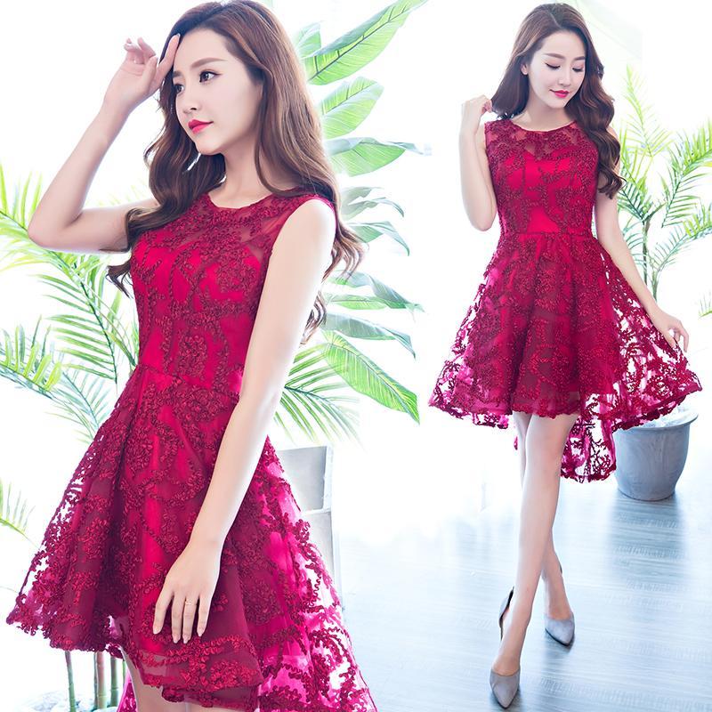Ssyfashion New Elegant Banquet Short Cocktail Dress Wine Red Lace ...