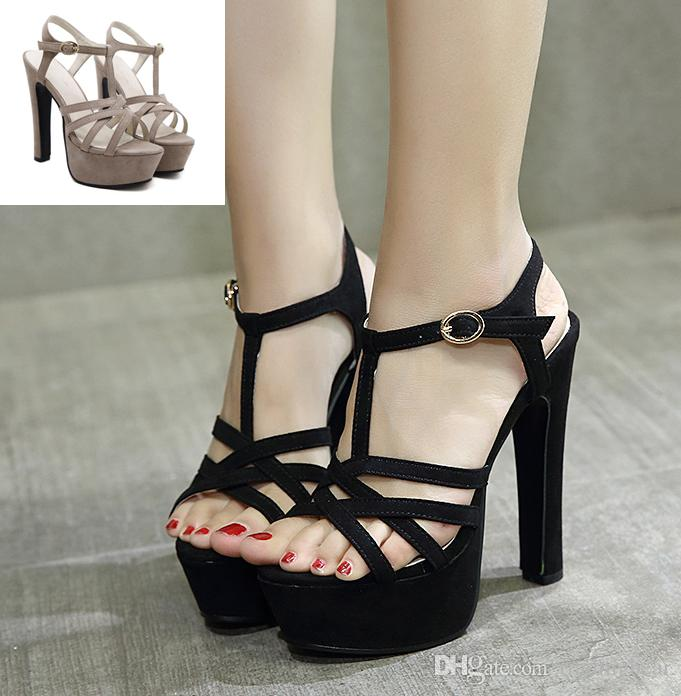 1e8ef7728 2017 Comfortable Black T Strap Thick High Heel Gladiator Sandals Party Club  Wear Black Khaki Walking Sandals Sandals From Tradingbear