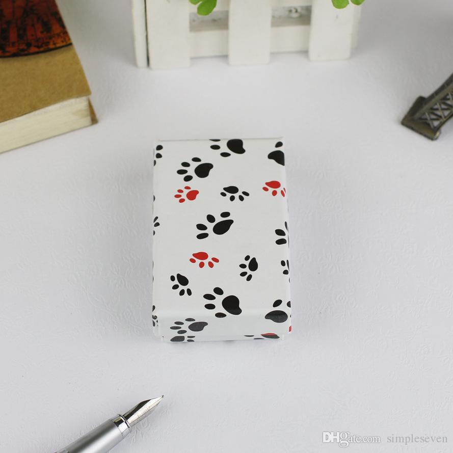 [Basit Yedi] Çift Aşıklar 8 * 5 * 3 cm Baskılı Aşk Takı Seti Ambalaj, Maple Leaves Kolye Taşıma Kutusu, Köpek ayak izleri Bilezik Ekran