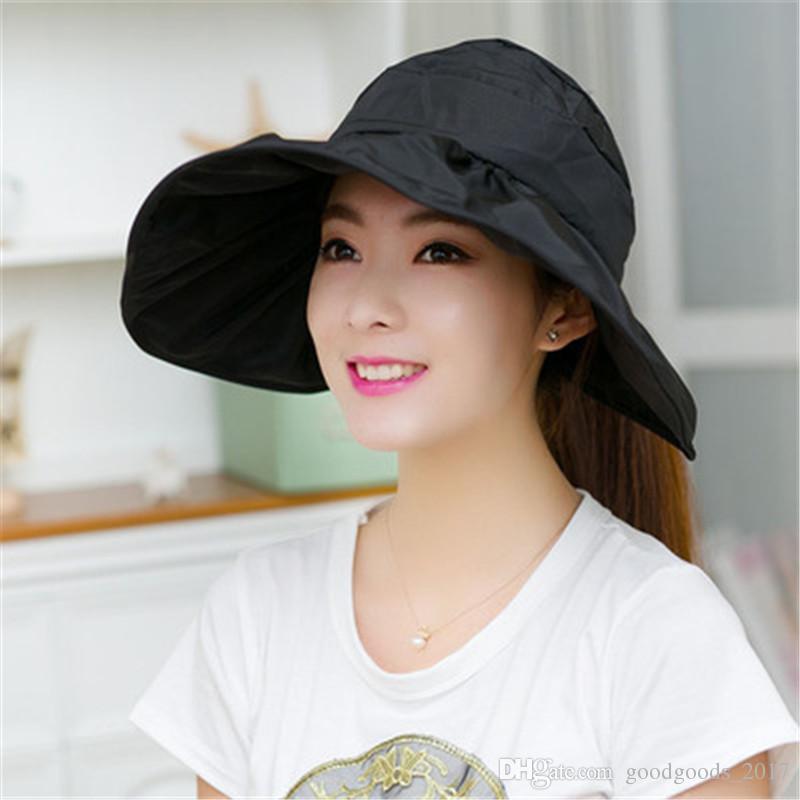 Cappello da sole estivo da donna I da donna pieghevole auto da sole cappello da spiaggia grande protezione solare esterna da entrambi i lati può indossare M178