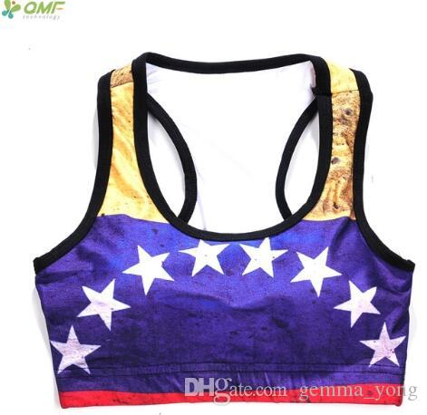 8d1c4bd842f 2019 Wonder Woman Sports Bras Fitness Underwear Sexy Yoga Bra Golden Blue  White Star Running Vests Bras Sleeveless Cropped Tops From Gemma yong