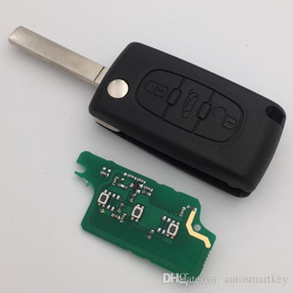 Auto key 3 button flip remote CE0523 VA2 blade with ID46 7941 chip 433MHZ for citroen C2 c3 c4 c5 folding key