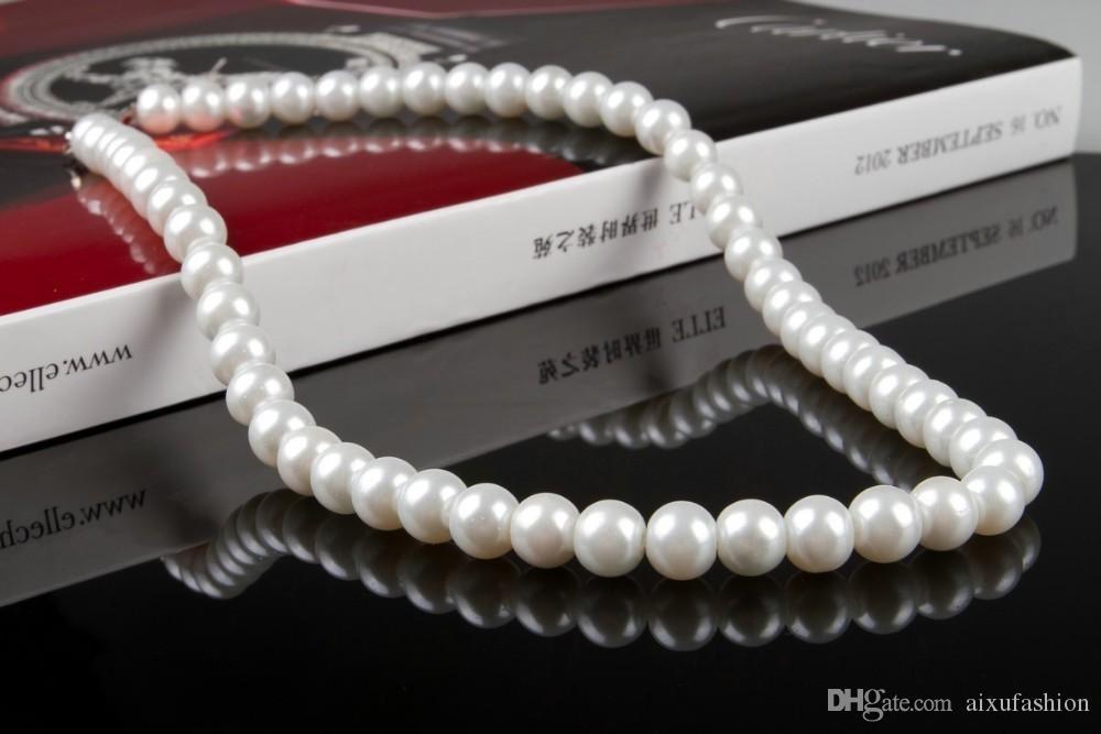 43 cm joyería delicada clavícula cadena Chocker simulado 8 mm collar de perlas joyería nupcial collar de mujer femenino blanco regalos de boda