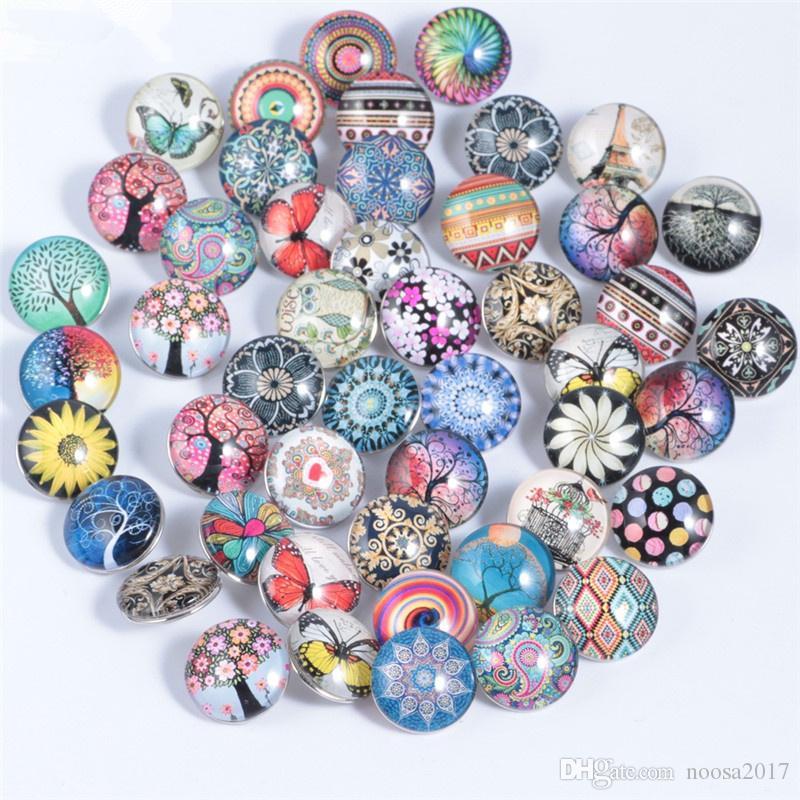 Nova Chegada Noosa 18 MM Botões de Pressão Encantos Diy pulseira pingente vida botão de vidro da árvore Fit Snap Pulseiras Colar DIY Botão Snap Gengibre