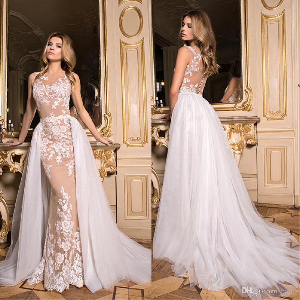Compre 2017 Lace Vestidos De Novia Modernos Destacables Oversirts ...