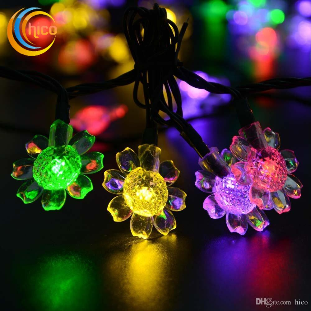 outdoor led christmas lights sunflower string lights led solar lights 7m 50 leds solar power outdoor waterproof commercial led string lights christmas light