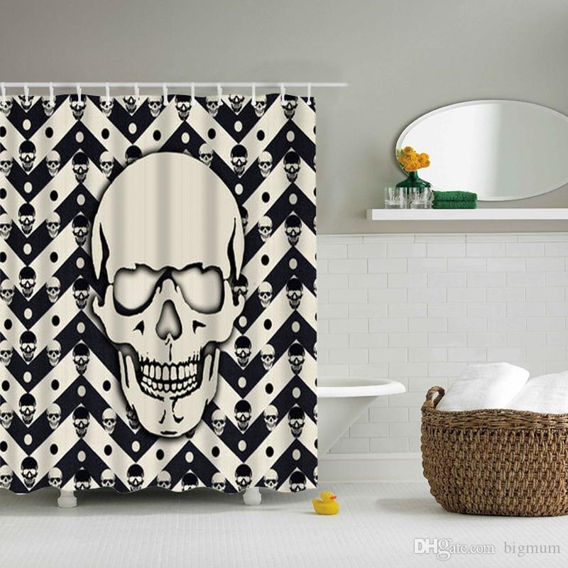 Design de crânio colorido dos desenhos animados Custom cortina de chuveiro banheiro tecido de poliéster à prova de água à prova de água