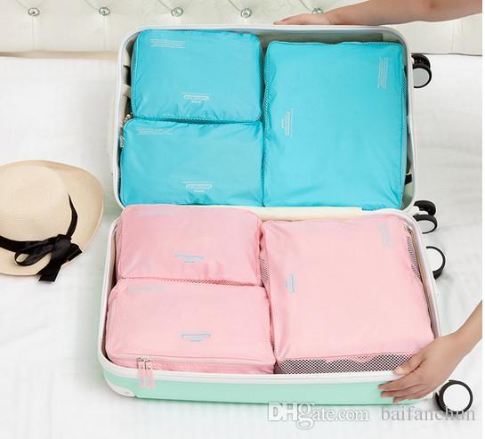 2017 Creativo Arredamento La Casa 7 Pz Vestiti Sacchetti di Immagazzinaggio Imballaggio Cube Viaggi Abbigliamento Organizzatore Sacchetto i Organizer Boite De Rangement