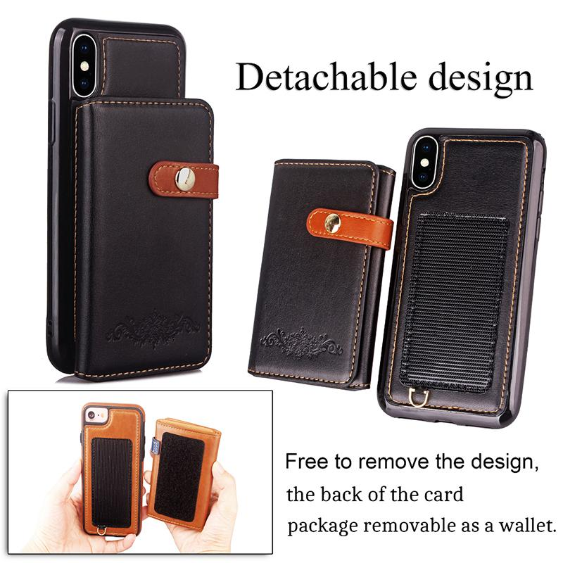 jc81 Fast Shipping New Arrival Retro Detachable 2in1 Wallet PU Leather Fold Flip Cover Case for iphone x 10