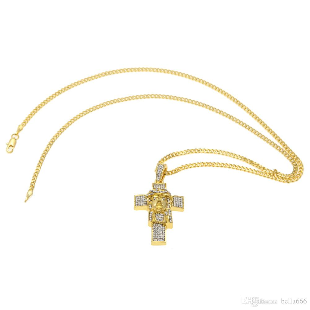 3mm Cuban Copper Chain Hip Hop Gold Plated Blingbling Rhinestone Crosses Jesus Mode Alloy Jesus Face Pendant Men Women Necklace
