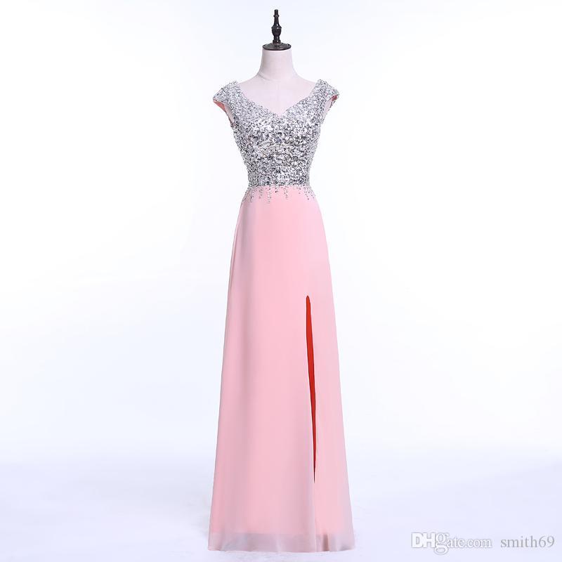 Compre Rosa 2017 Vestidos De Noche Largo Con Cristales Rebordeado ...