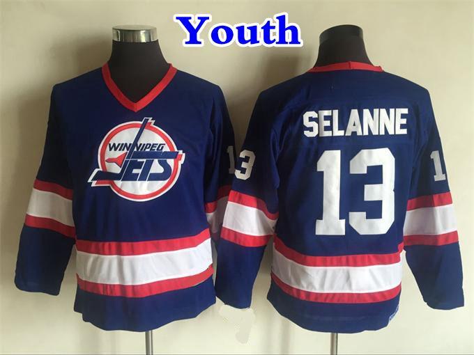3f768ce75fb 2019 Youth Retro Winnipeg Jets Hockey Jerseys 13 Teemu Selanne Home Blue  Vintage CCM Kids Teemu Selanne Stitched Jersey Cheap Embroidery Logo From  ...