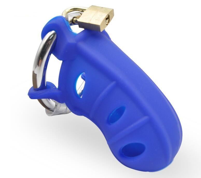 最新の男性シリカゲルコックケージウィットステンレス鋼の調節可能なペニスリング貞操帯デバイスBDSM成人セックス製品おもちゃ4色A310