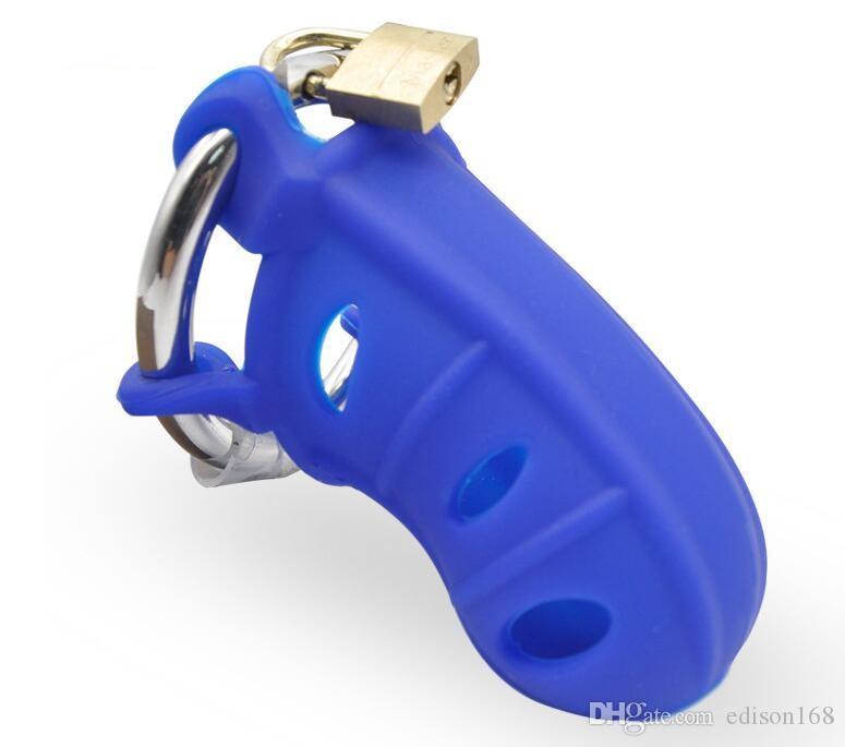 Najnowsze męskie krzemionka żel Cock Cage Wit ze stali nierdzewnej Regulowany Penis Pierścień Chastity Pas Urządzenie BDSM Dorosły Produkt Produkt Toy 4 Kolor A310