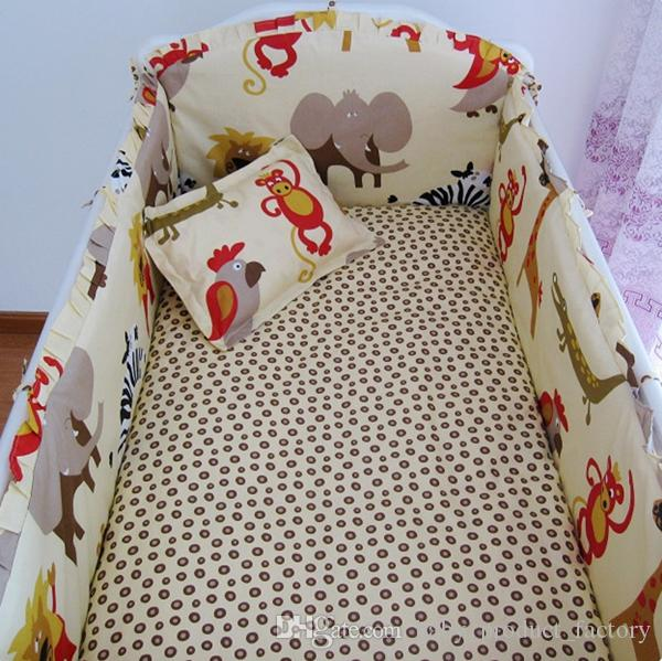Promotion! Cartoon Baby Bedding Set Cartoon Cot Bed Linen Crib Bedding Newborn Baby Gift ,include4bumpers+sheet+pillowcase
