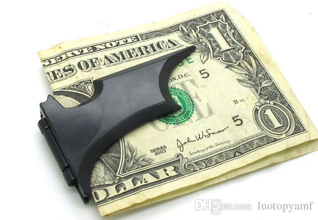 121x36mm 남자를위한 배트맨 모양 머니 클립 마그네틱 폴딩 카드 금속 홀더 지갑 현금 계산을위한 안전을위한 현금 클립