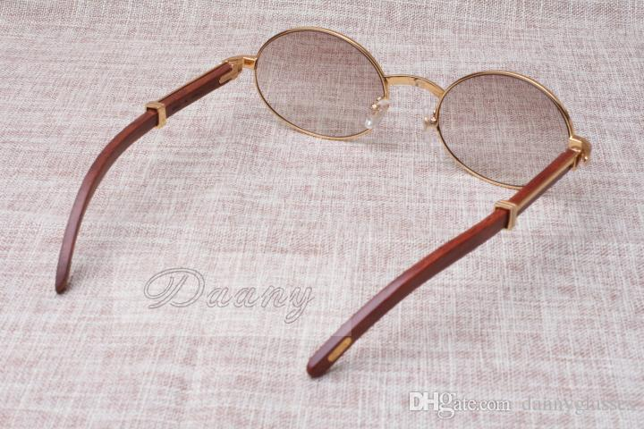 라운드 선글라스 가축 경적 안경 7550178 나무 남성과 여성 선글라스 글라스 안경 크기 : 55-22-135mm