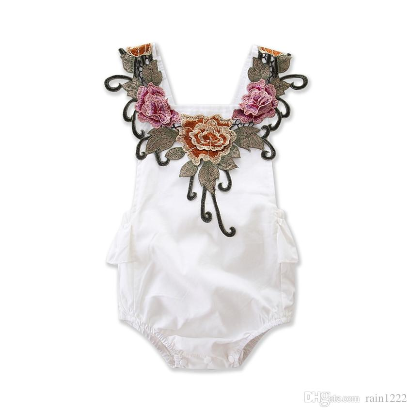 New Baby Floral Rompers For Little Girls Babies Embroidery Applique Triangles Slip Jumpsuits Infants Toddlers Backless One-piece For 0-2T