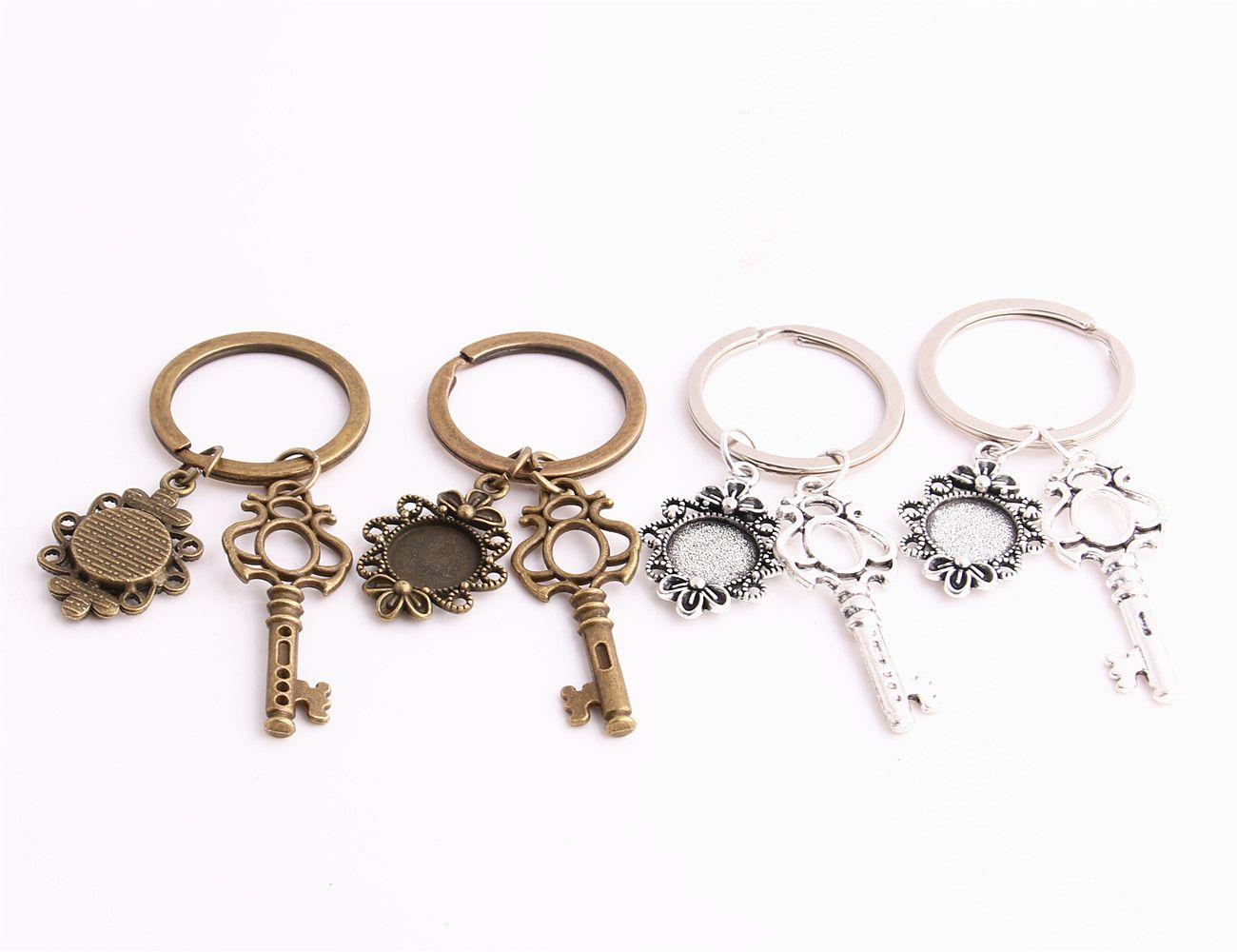 SWEET BELL Metal Alloy Zinc Key Chain Fit Round 12.5mm Cabochon Base Key Charm Pendant Jewelry Making C0898