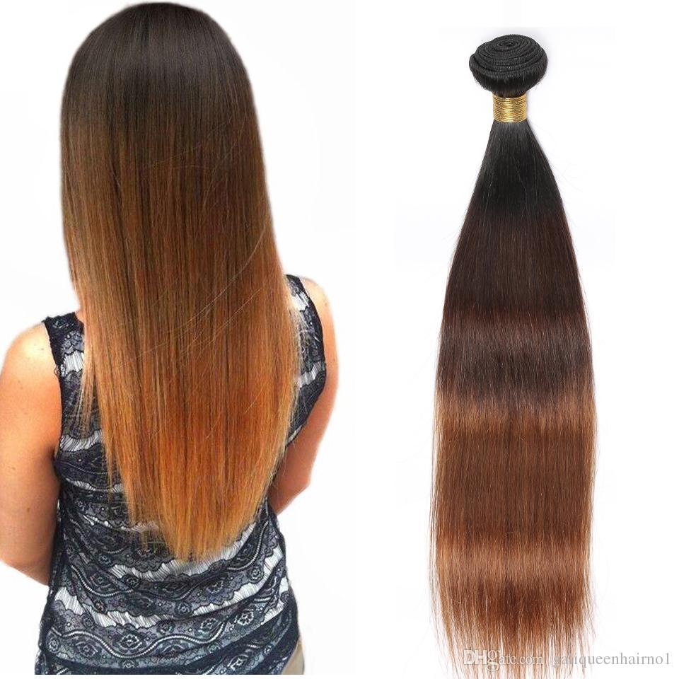 I capelli diritti peruviani di Remy dei capelli umani intreccia i toni di Ombre 3 toni 1B / 4/30 Le doppie trame di colore 100g / pc possono essere tinti sbiancati