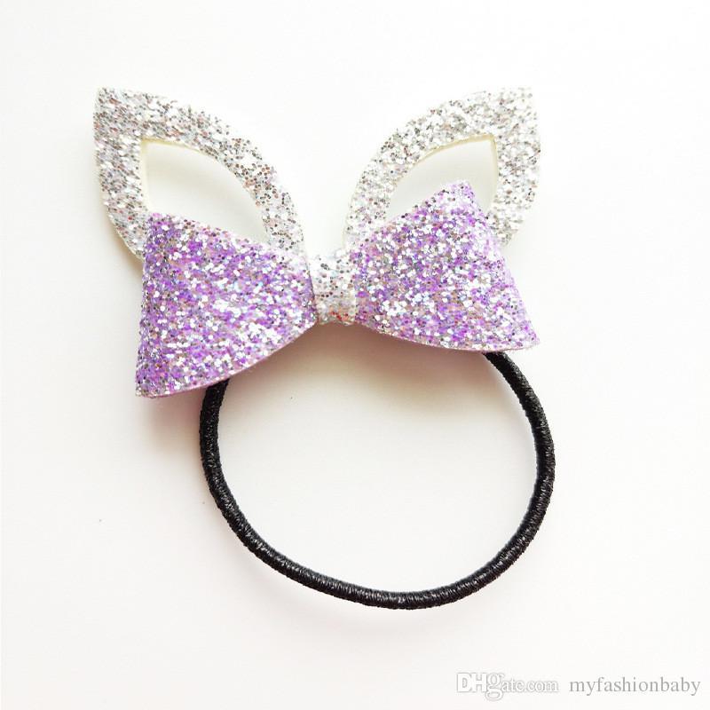 Glitter Felt Gold Leather Baby Girls Hair Clip Silver Rabbit Ears Hair Barrette Cute Animal Princess Hair Ties Hairband