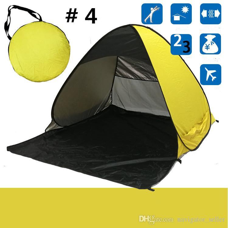 2-3 명을위한 햇빛 텐트 야외 가을 캠핑 쉼터 50 UV 보호 텐트 해변 여행 잔디 캐리 가방 손톱