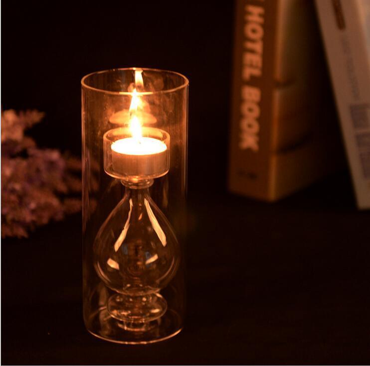 European romantic transparent glass candlestick candle European romantic transparent glass candlestick ornaments creative crystal wedding ar