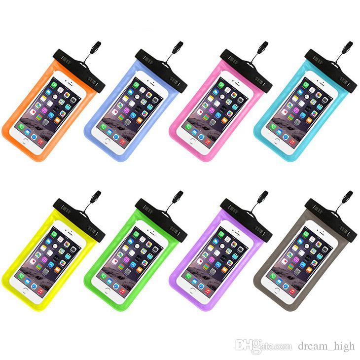 Dokunmatik Ekran Su Geçirmez PVC Kılıf Kılıf Sualtı Dalış Çanta Evrensel Cep iPhone 6 7 7 Artı 5 S 4 HTC Sony Için Kapakları