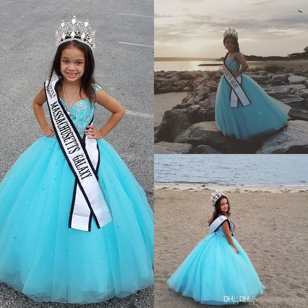 Cheap Light Sky Blue Beads Little Girls Pageant Dresses Ball Gown ...