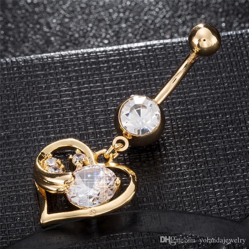 100% Новый высокое качество мода 18 K желтое золото покрытием любовь Сердце угол пупка кольца для женщин ювелирные изделия тела