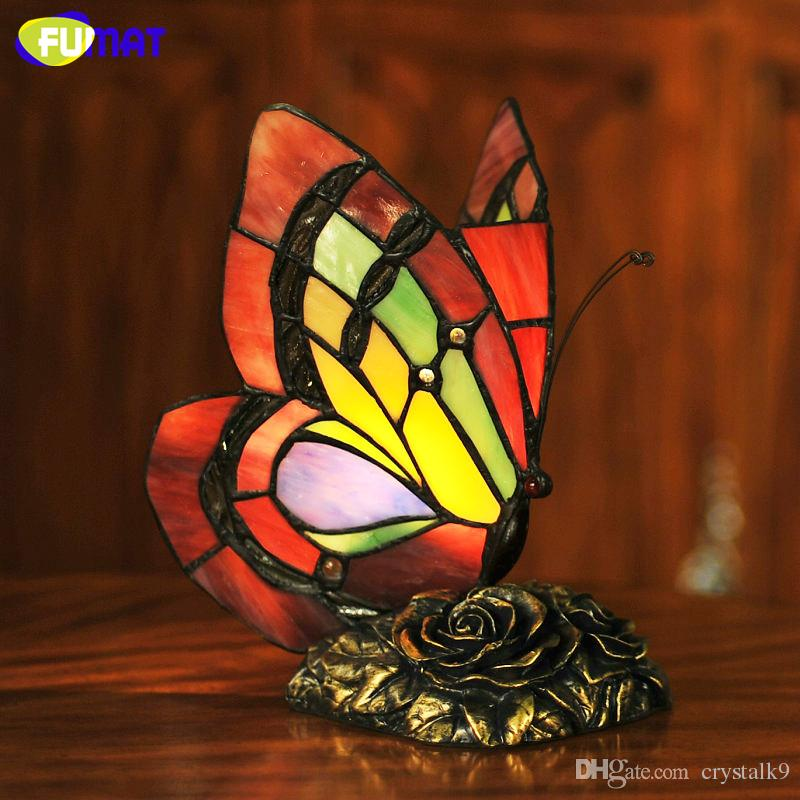 2019 Fumat Butterfly Table Lamp Art Decor Stained Glass Lights For