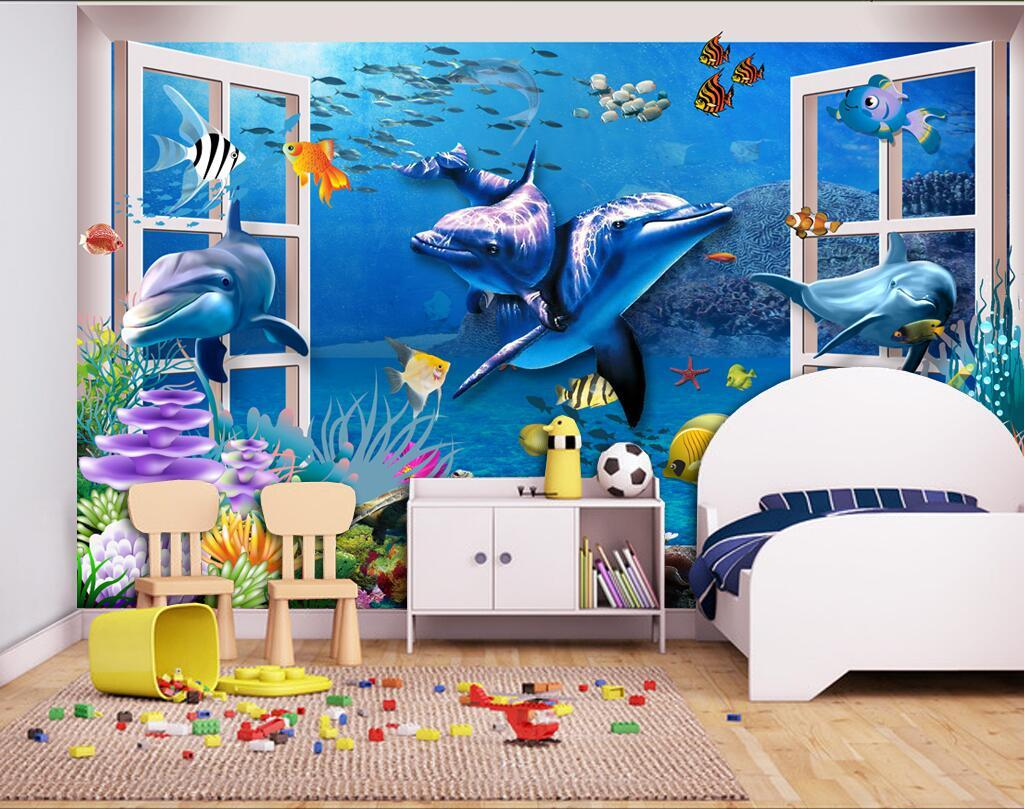 3d Wallpaper Custom Photo Mural Outside The Window Of The Dolphin  Background Wall Room Painting 3d Wall Murals Wallpaper For Walls 3 D Hd  Wallpapers In Hd ... Part 67