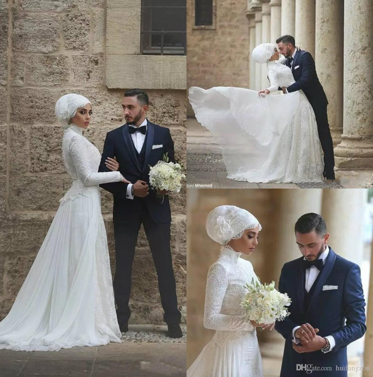 92cc66b0db41 Discount Muslim Wedding Dresses Saudi Arabia Long Sleeve Lace Applique A  Line Brdal Gown Floor Length Custom Made Wedding Gowns Wedding Dresses For  Cheap ...