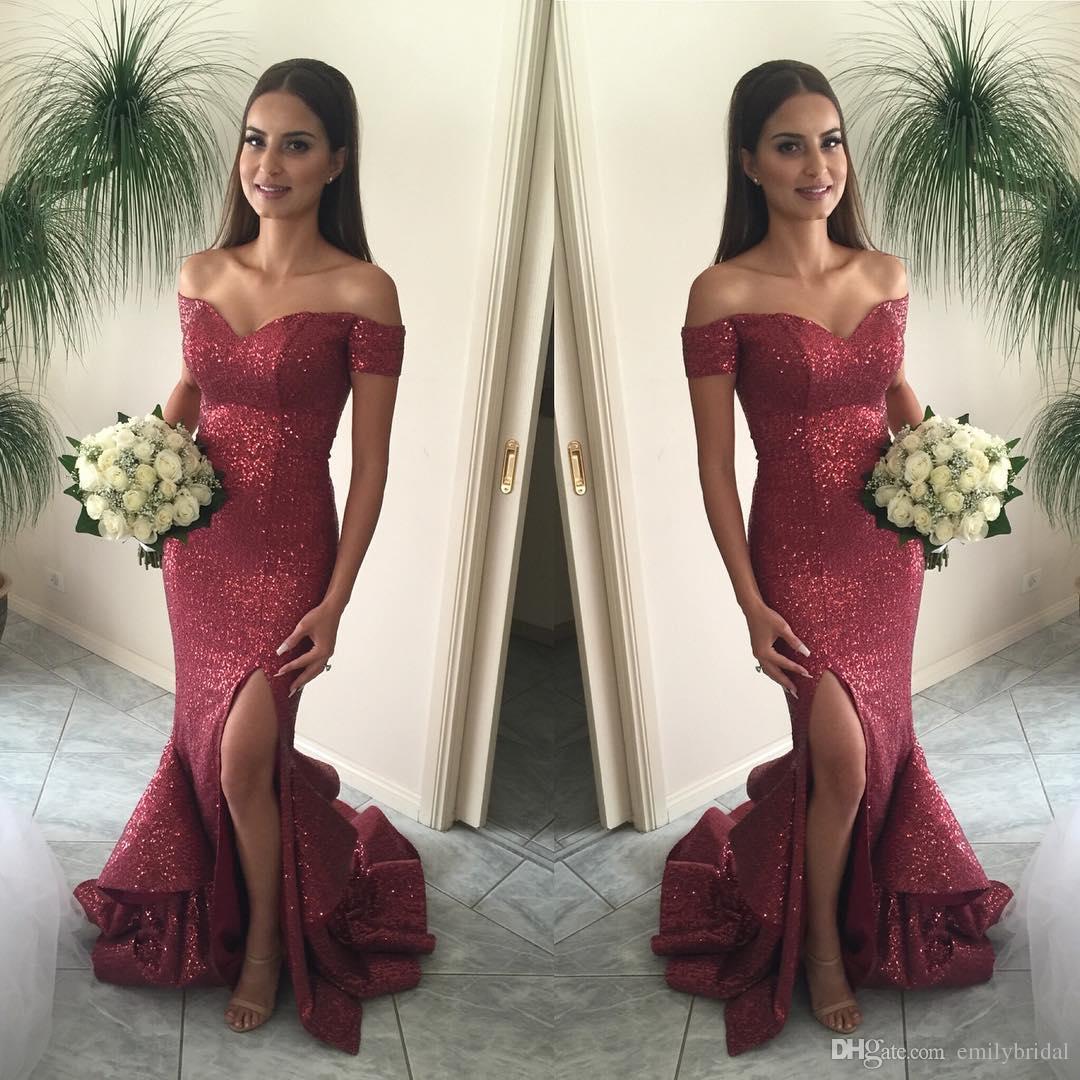 Großhandel Red Pailletten Prom Kleider 2018 Sexy Side Slit Rüschen ...