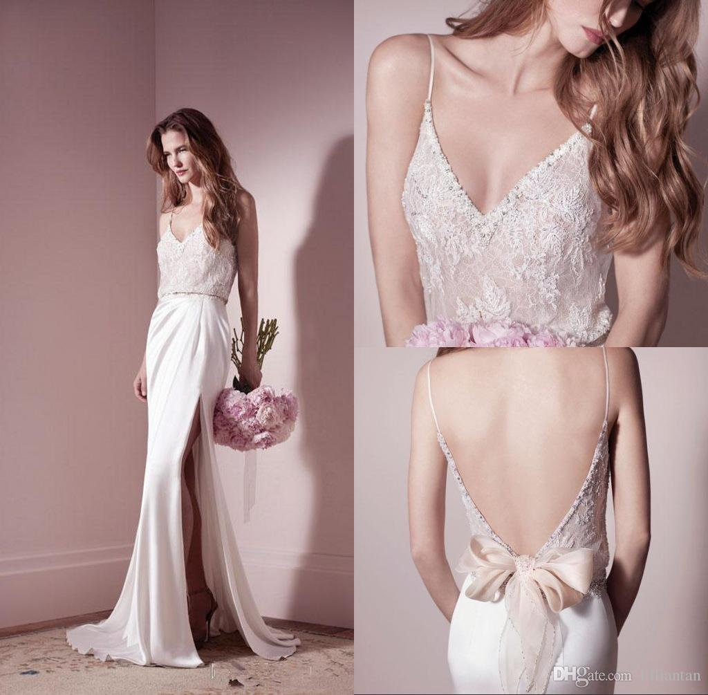 Discount Blush Sexy Backless Wedding Dresses Open Back Lace Party Gowns Spaghetti Side Split Bridal Occasion Bow Sashes Silk Satin Slim A Line: Silk Wedding Dresses With Straps At Reisefeber.org