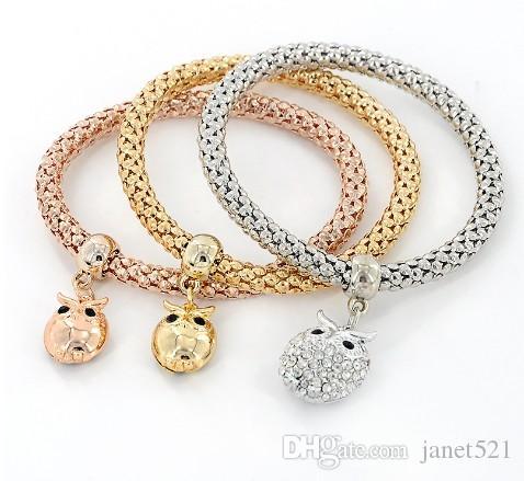 Gold / Silver / Rose Gold Tone milho Cadeia estiramento Pulseiras para Mulheres