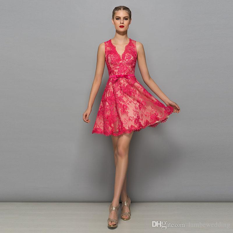 Best Sale 2017 V-Neck Lace Appliques A-Line Lace Illusion Satin Sashes With Bow Short Prom Dress Mini Length Party Dress vestido de festa