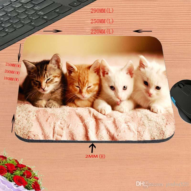 Four Naughty Kitten Custom, DIY Computer Hd Personality Mouse Pad, Non-Slip Rubber Rectangle Decorate Your Desk, As A Gift