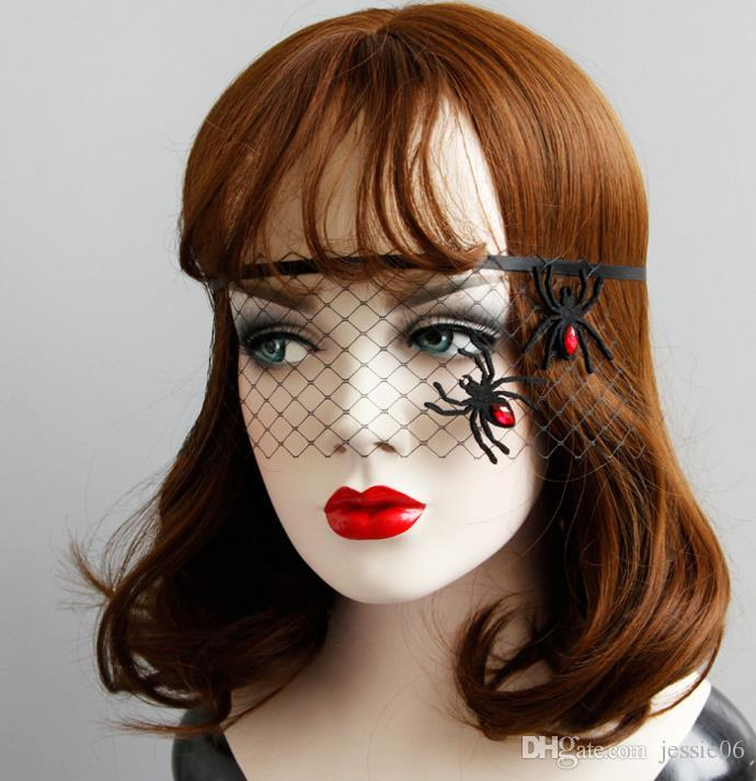 Halloween Black Net Veil with Spider Womens Prom Costume Masquerade Ball midnight party Mask Hen eyemask COS Witch devil fancy dress