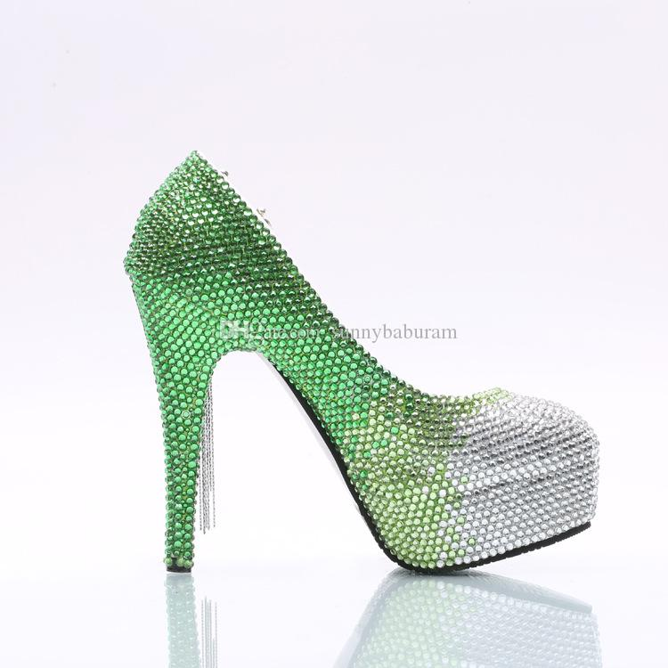 Wholesale Silver Green Ombre Cinderella Shoes Hand-made Prom Evening High Heels Gems Rhinestones Bridal Bridesmaid Wedding Shoes