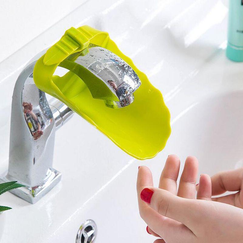 Adjust Wash hands extender Bathroom Sink Faucet Chute Extender Children Kids Washing Hands Convenient for Baby Washing Helper