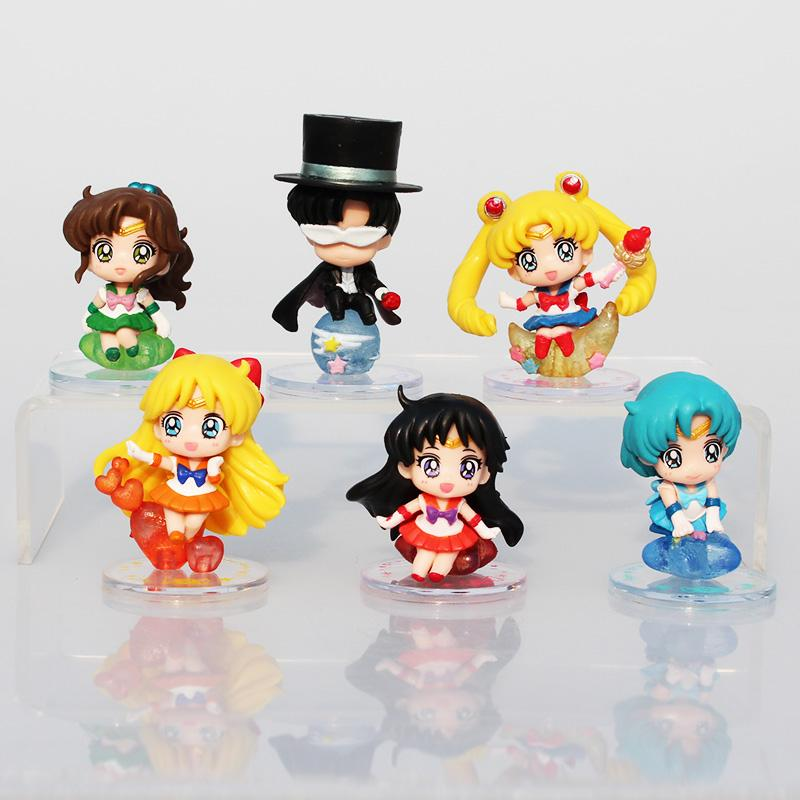 6Pcs/Set Sailor Moon Tsukino Usagi Tuxedo Mask Sailor Venus Mercury Mars Jupiter PVC Figures Toys Collectible Model Figures 5~6cm