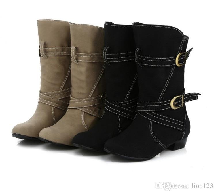 Women Warm Winter Fur Shoes Vintage Low Square Heels Buckle Knee High Boots Round Toe Platform Snow Boots Big size 34-43