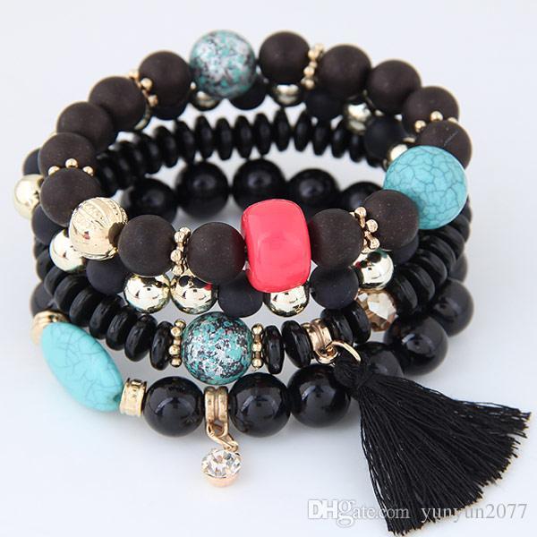 Bohemia Ethnic Fashion Jewelry Vintage Retro Beads Turquoise Tassel Accessories Statement Multilayer Bracelets Elasticity Bangles For Women