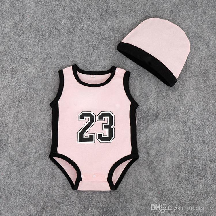 Baby digital romper summer infant 23 number Jumpsuits kids Climbing clothes with hat boy's number rompers baby Clothes