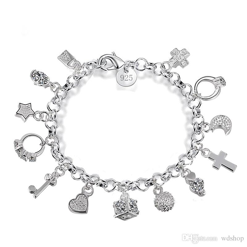 Luxury 925 Sterling Silver Plated Charms Bracelets With Love Cross Ring  Moon Star Key 13 Pendants Bracelet For Women Gift Box Jewelry Popular Charm  ... 86bb3ed64